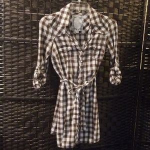 Western Brown GUESS? Plaid Dress with Tie